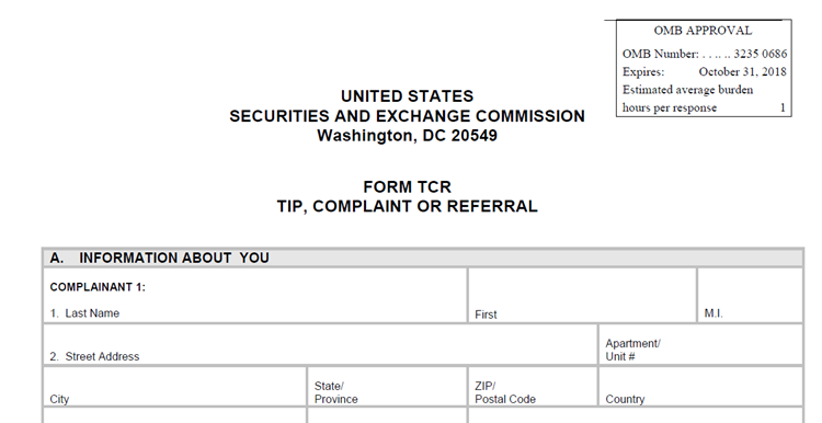Image of Form TCR, can be completed by an SEC whistleblower  lawyer.